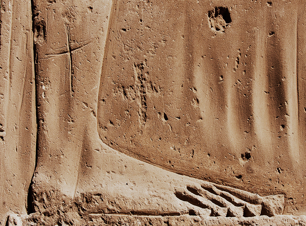 Edfu Foot with Cross Graffitti
