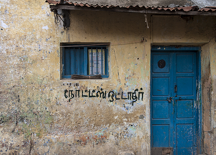 Madurai :: Blue Door with Graffiti